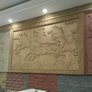 Natural Yellow Horse Sandstone Relief Handmade Sculpture