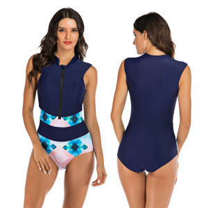 New European and American sleeveless surf clothing women's swimwear stitching color Slim sexy swimsuit direct deal aonihua