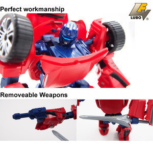 Red Color  Kids Favorite Plastic  Deformation Robot Car Toys Trace Robot With Weapons