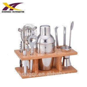 Stainless steel 8pcs bar cocktail shaker set with wooden stand