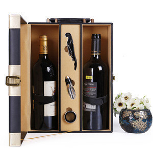 Stainless steel tools leather wine gift box for double bottle