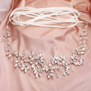 Wedding Bridal Dress Handmade Sash Beaded Belt Crystal rhinestone Waist Belt