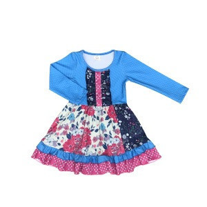 Wholesale boutique childrens clothing new design baby dress blue floral long sleeve incing ruffle baby dress