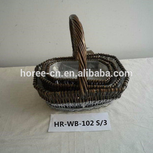 Wholesale wicker basket with handle and liner hot sell in Europe
