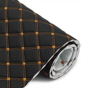 1.8M Width Embroidery Quilted Diamond Stitching  Leather For Car Seat Cover Making