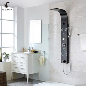 Best sale high quality bathroom products black brushed finishing 3 way control shower panel
