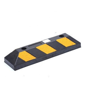 Black Yellow Rubber Reflective Wheel Parking Curb For Protectors