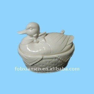 Ceramic white duck stock pot
