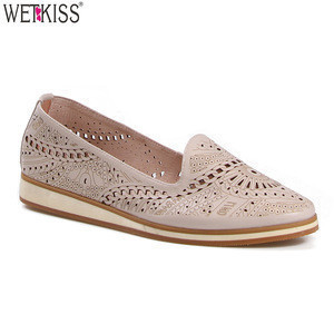 Fashion Summer Slip On Flats Genuine Leather Flats Women Footwear OEM Shoes