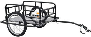 Foldable Drawbar Quick Release Wheels Bicycle Cart Wagon Trailer with Hitch,