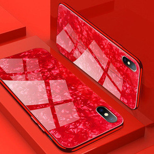 Low MOQ wholesale luxury shell tempered glass case for iphone XS MAS