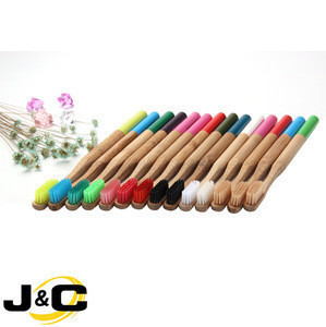 New trendy biodegradable bamboo color changing  toothbrush in colored painting and matched bristles