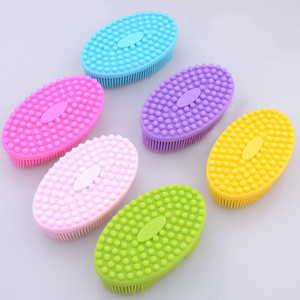 Ultra Soft Silicone Bay Bath Scrubber Sponge Anti-bacterial Body Shower Massager Silicone Baby Bath Brush