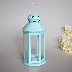 Wedding Decoration Home Decoration Garden Decoration Blue and White Metal Glass Candle Lantern