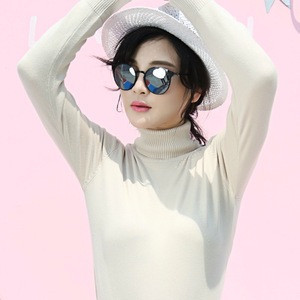 Winter fashion women high elastic long sleeve turtleneck knitted white sweater