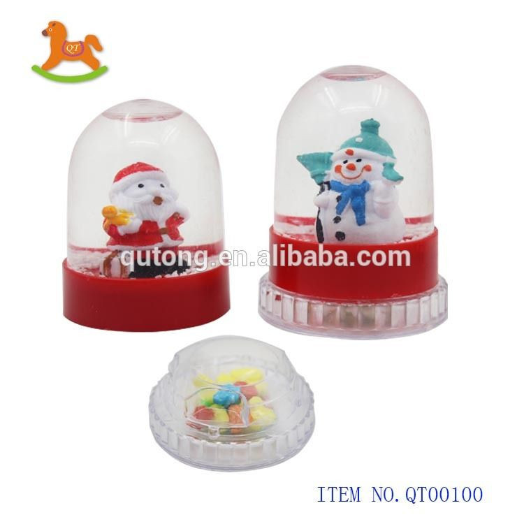 Hot selling!! Revolving plastic Christmas ball toy with sweet   candy in display box for kids