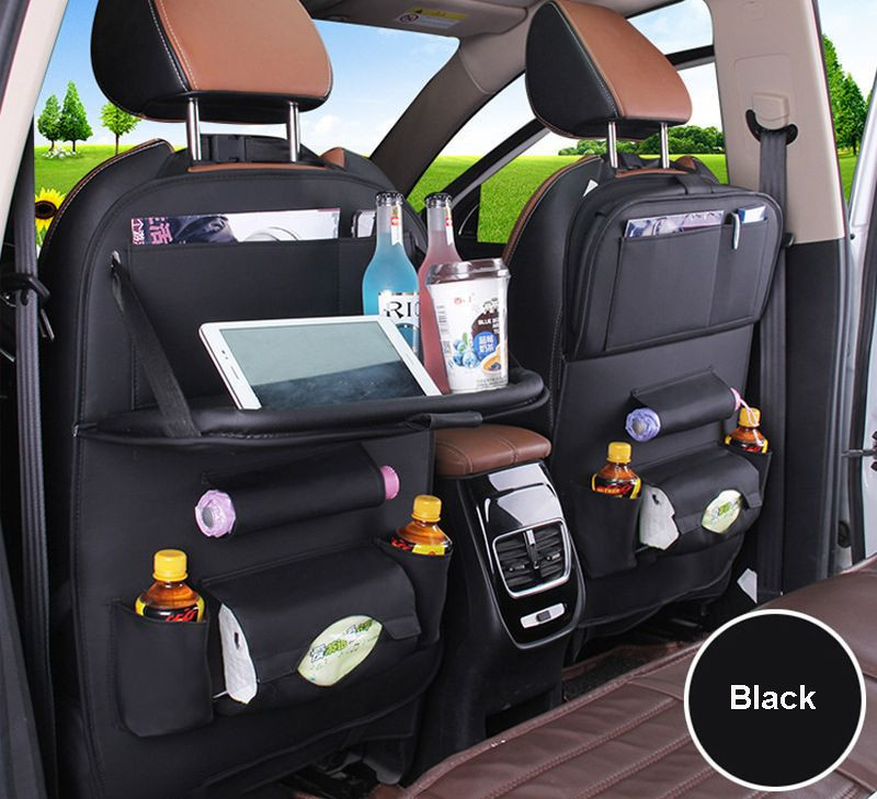 Multifunction Waterproof PU Leather Car Backseat Storage Bag With Tray