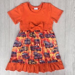 2018 hot sale kids girls smoking wholesale clothing china car printed short sleeve dress