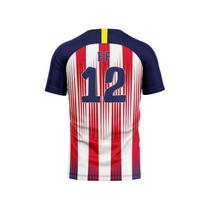 Best quality red blue stripes football jersey sublimation soccer uniforms