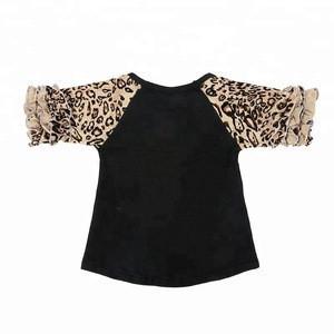 Children black ruffled half sleeves white raglan t shirts tops baby girls blouses for summer wear