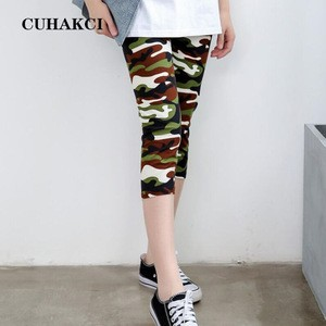 CUHAKCI Wholesale Casual Camo Legging Digital Printing Sport Fitness Green Camouflage Yoga Squat Proof Cropped Trousers