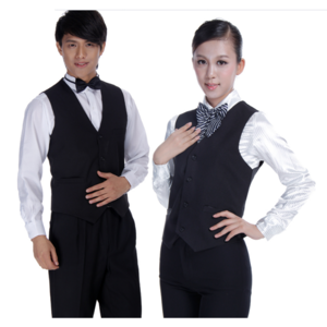 Customized Hot Sale Hotel Staff uniform three pieces sets Cotton polyester  ties with shirt and top vest custom the pants