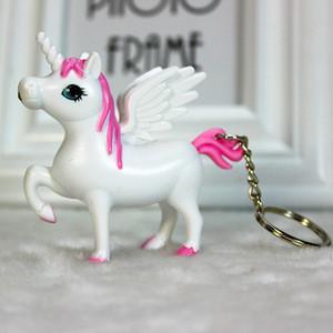 Cute Unicorn LED Sound Keychain  flashing animal shaped car keyring  bag pendent promotional gift