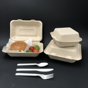 Disposable dinnerware sets sugarcane bagasse takeout lunch box biodegradable fast food paper packaging for to go