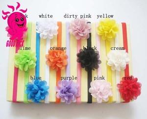 Fashion Chiffon Baby Girls Hair accessories Elastic Headband Flower accessories for Kids