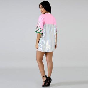 Fashion Women Shirt custom performance ladies  Summer sequin hip hop t-shirts