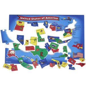 Geography Shapes 51 Pieces Map Puzzels Great Gift for Girls and Children