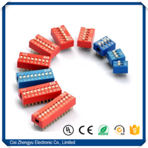 High Quality and good price 2.54mm Pitch DIP Switch Red Blue (1-12Way)