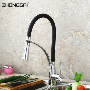 High Quality Single Lever Brass Black Pull Out Kitchen Faucet