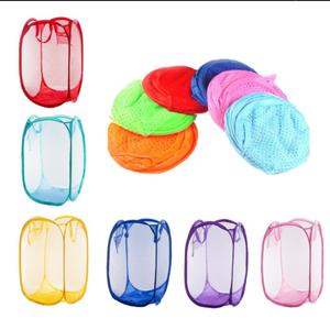 HS- Foldable Pop Up Mesh Washing Laundry Basket Hamper Bag Bin Tidy Clothes Storage
