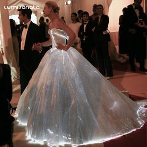 LED Light Luminous Illuminated Evening Dress Fiber Optic Wedding Dress Light-Emitting dress