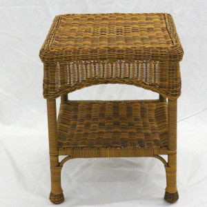 Patio Furniture Outdoor Rattan Wicker Steal Side Table with Shelf  End Table,Walnut