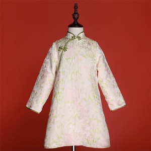 Pink Floral Jacquard Fabric Long Sleeve A-Line Girls Ethnic Style Traditional Chinese Cheongsam Dress For Kids