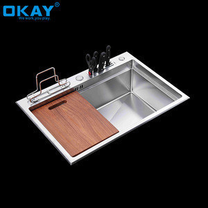 Single Bowl Undermount Workstation Stainless Steel Accessories Kitchen Sink With Knife Holder
