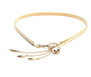 Wholesale Belt Fashion Accessories Gold Waist Chain Diamond Crystal Bear Studded Belts For Ladies