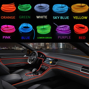 1/2/3/5M EL Wire With 6mm Sewing Edge Neon Light LED lamp Flexible Twinkle Glow Rope Tube Waterproof LED Strip Car Decoration