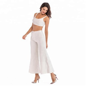 2018 Fashion Style High Waist Ribbed Bandage Pants Two Pieces For Women