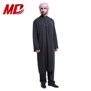 Black Arabic Men Islamic Clothing with Pants Moroccan Kaftan Muslim Thobe Musulman