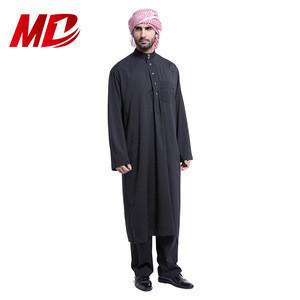 Black Arabic Men Islamic Clothing with Pants Moroccan Kaftan Muslim Thobe Musulman