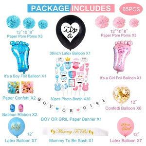 Boy or Girl  Gender Reveal Baby Shower Party Decorations Supplies with Photo Booth Props