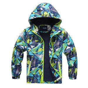 Boys outdoor softshell jacket full printed windbreaker children clothing