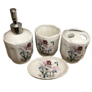 Ceramic Bath Gift Set Floral Green Customized  Color Feature flower Suitable