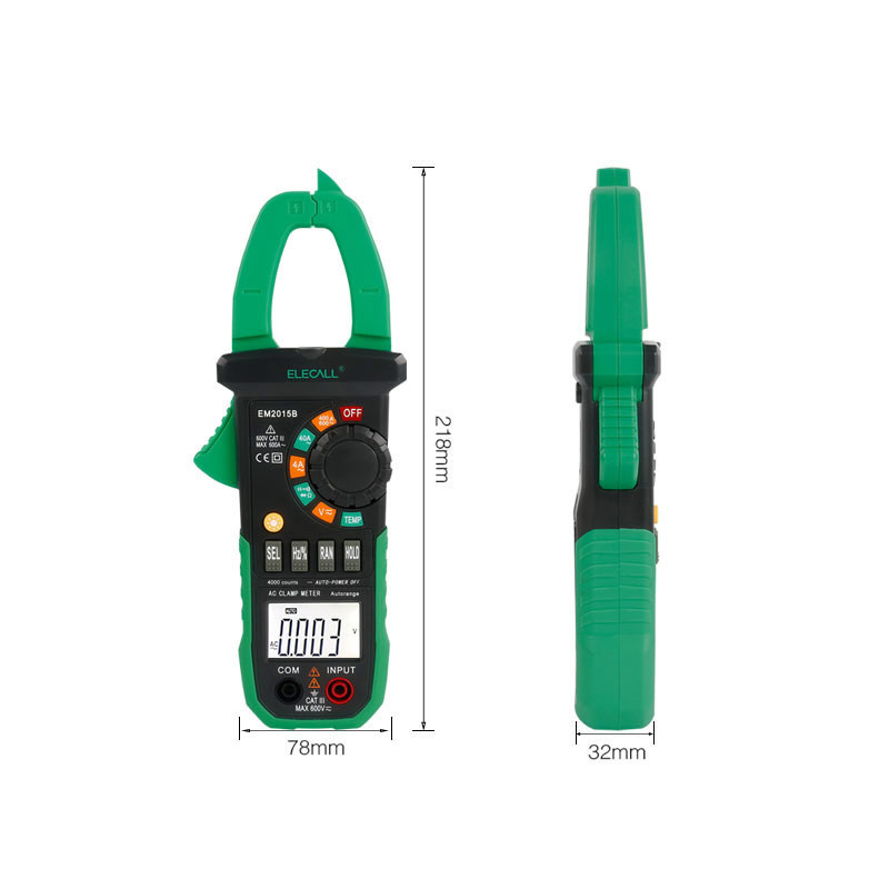 Cost-Effective Full Protection Clip-on Multimeter 600A AC/ Current Multimeters LCD Digital EM2015B
