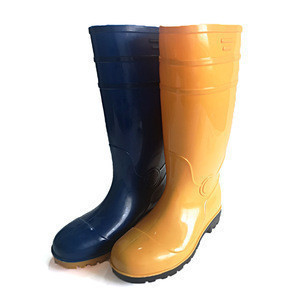 Custom Logo Accepted Cheap Men Shoes Labor Boot Yellow & Blue PVC Boots Waterproof Rain Boots