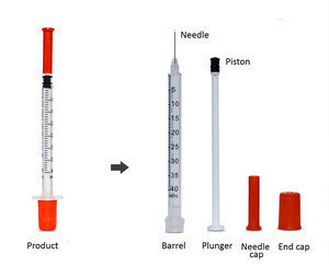 Disposable sterile insulin syringe 1ml 40u 100u with needle orange cap