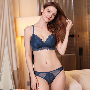 New ladies lace sexy rimless underwear bra set factory direct wholesale sexy beautiful ladies bra sets with underpants